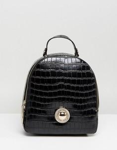 Маленький рюкзак с золотистой пуговицей Versace Jeans - Черный