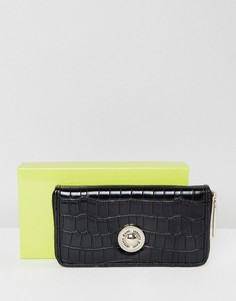 Кошелек с тиснением под крокодиловую кожу и золотистой пуговицей Versace Jeans - Черный
