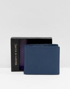 Темно-синий кожаный бумажник Smith And Canova - Синий