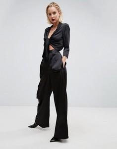 Широкие брюки с карманами ASOS White - Черный