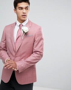 Розовый блейзер приталенного кроя из 100% шерсти ASOS WEDDING - Розовый