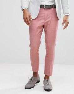 Розовые суженные книзу брюки из 100% шерсти ASOS WEDDING - Розовый