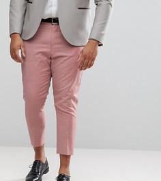 Розовые суженные книзу строгие брюки из 100% шерсти ASOS PLUS WEDDING - Розовый