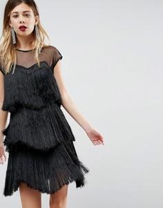 Платье мини с ярусной бахромой ASOS - Черный