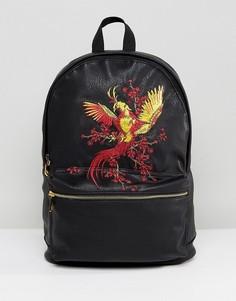 Рюкзак из искусственной кожи с вышивкой ASOS - Черный