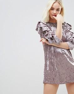Бархатное платье с оборками на рукавах и кружевом Hazel - Фиолетовый
