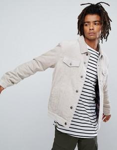 Вельветовая куртка с подкладкой в клетку ASOS - Светло-бежевый