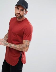 Длинная красная футболка с контрастными вставками ASOS - Мульти