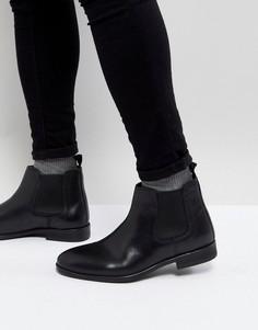 Черные кожаные ботинки челси Burton Menswear - Черный