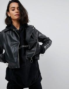 Кожаная куртка с кольцом ASOS - Черный