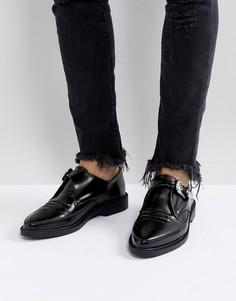 Кожаные туфли с острым носком и пряжками T.U.K - Черный TUK
