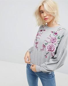 Свитшот с цветочной вышивкой ASOS - Серый
