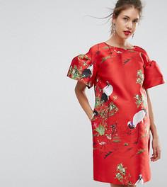 Жаккардовое платье мини с принтом птиц ASOS Maternity - Красный