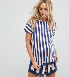 Пижамный комплект в полоску с шортами ASOS Maternity - Мульти
