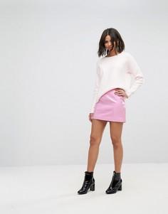 Виниловая мини-юбка Miss Selfridge - Розовый