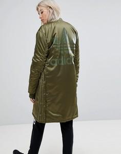 Длинный оверсайз-бомбер adidas Originals - Зеленый