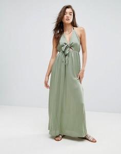 Пляжное тканое платье макси с завязкой ASOS - Зеленый