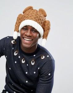 Коричневая шапка-бини в виде индейки ASOS Christmas - Коричневый