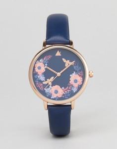Часы с цветочным рисунком ASOS CURVE - Темно-синий