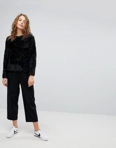 Шерстяные брюки в полоску Weekday - Черный