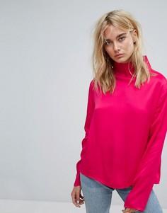 Рубашка с высоким воротом Weekday - Розовый