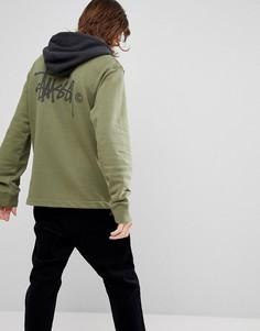 Худи с контрастным капюшоном и логотипом на спине Stussy - Зеленый