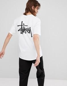 Белая футболка с логотипом на спине Stussy - Белый