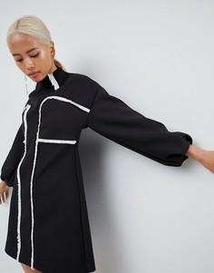 Платье мини с необработанными кромками ASOS WHITE - Синий