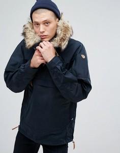 Темно-синяя куртка с капюшоном и искусственным мехом Fjallraven Singi - Темно-синий