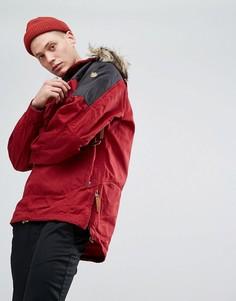 Красная куртка с искусственным мехом на капюшоне Fjallraven Singi - Красный