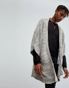 Бежевая куртка-кимоно фактурной вязки ASOS - Черный