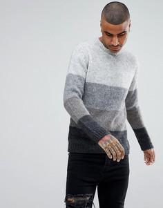 Джемпер в стиле колор блок с добавлением шерсти ASOS - Серый