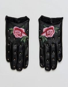 Кожаные перчатки с вышивкой ALDO - Черный