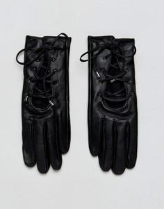 Кожаные перчатки со шнуровкой ALDO - Черный