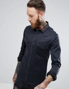 Черная джинсовая рубашка зауженного кроя с цветочной вышивкой на воротнике ASOS - Черный