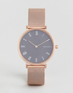 Часы цвета розовоо золота с сетчатым браслетом Skagen SKW2675 - Золотой