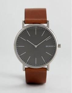 Часы со светло-коричневым узким кожаным ремешком Skagen SKW6429 Signatur - Рыжий