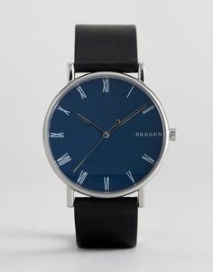 Часы с черным узким кожаным ремешком Skagen SKW6434 Signatur - Черный