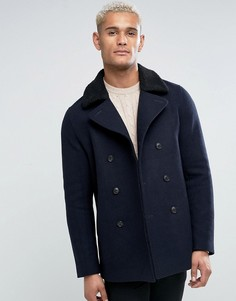 Темно-синее пальто с воротником борг Jack Wills - Темно-синий