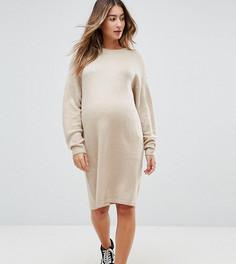 Вязаное платье с круглым вырезом из пушистой пряжи ASOS Maternity - Светло-бежевый