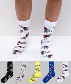 5 пар носков с принтом ASOS - Мульти