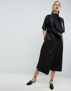 Атласное платье миди с отделкой ASOS WHITE - Мульти
