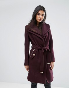 Пальто с запахом и поясом Lipsy - Красный