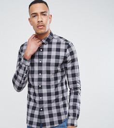Приталенная поплиновая рубашка в клетку ASOS TALL - Серый