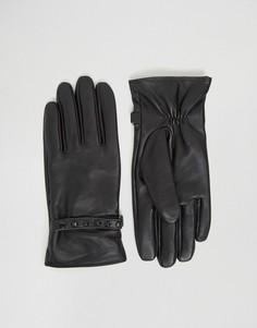 Черные кожаные перчатки с заклепками ASOS - Черный