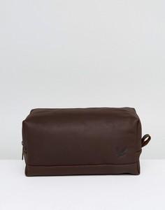 Темно-коричневый кожаный несессер Lyle & Scott - Коричневый