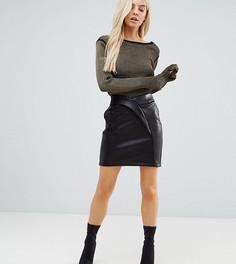 Фактурная мини-юбка из искусственной кожи ASOS PETITE - Черный