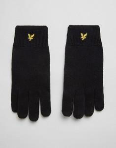 Черные перчатки из овечьей шерсти с логотипом Lyle & Scott - Черный