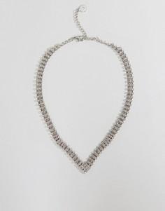 V-образное ожерелье со стразами Johnny Loves Rosie - Серебряный