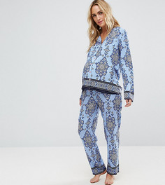 Пижамный комплект с рубашкой и брюками с принтом ASOS Maternity - Синий
